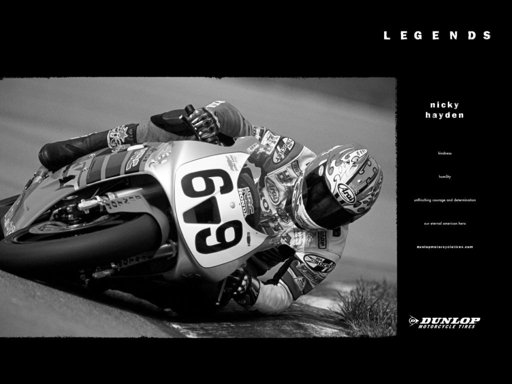 Nicky Hayden Included in the Dunlop Legends Program