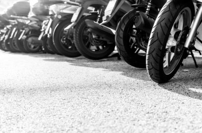 Motorcycles lines up
