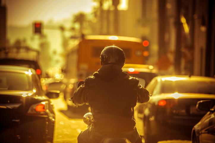 Rider in a traffic jam