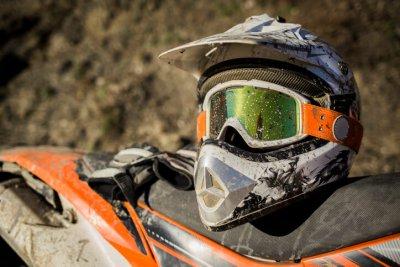 Helmet on a dirt bike